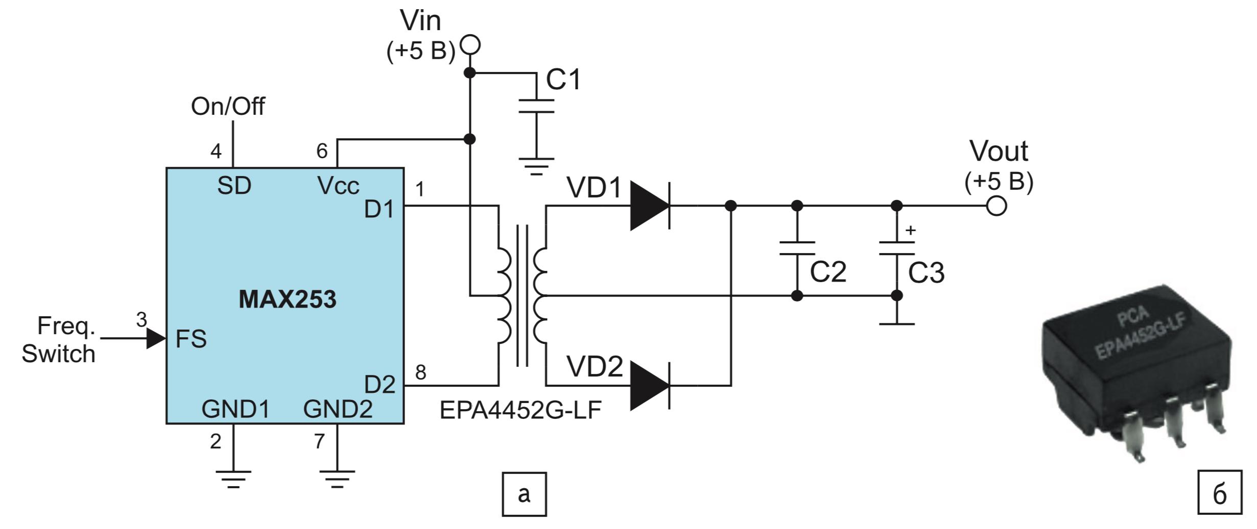 Трансформаторы EPA4452G-LF: типовая схема применения и внешний вид