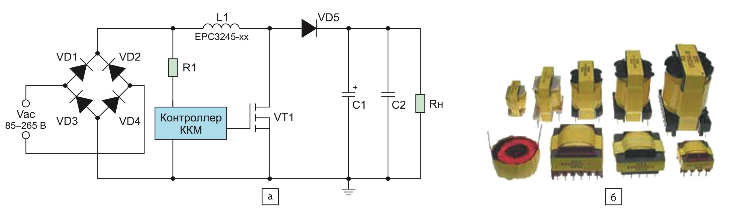 Силовые катушки индуктивности компании PCA Electronics: а) упрощенная типовая схема применения; б) внешний вид