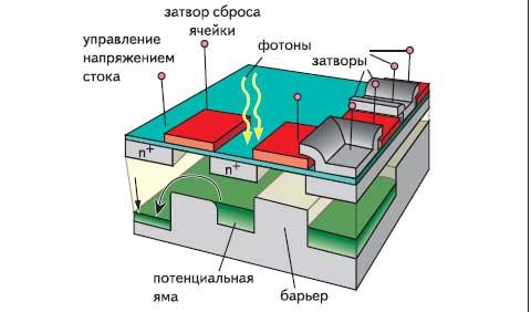 Рис. 1. Структура ПЗС-матрицы