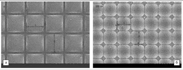 Рис. 8. а) Матрица с обычными микролинзами; б) матрица с Zero-gap микролинзами