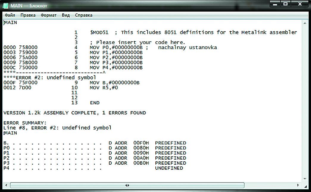 Файл листинга программы инициализации микроконтроллера