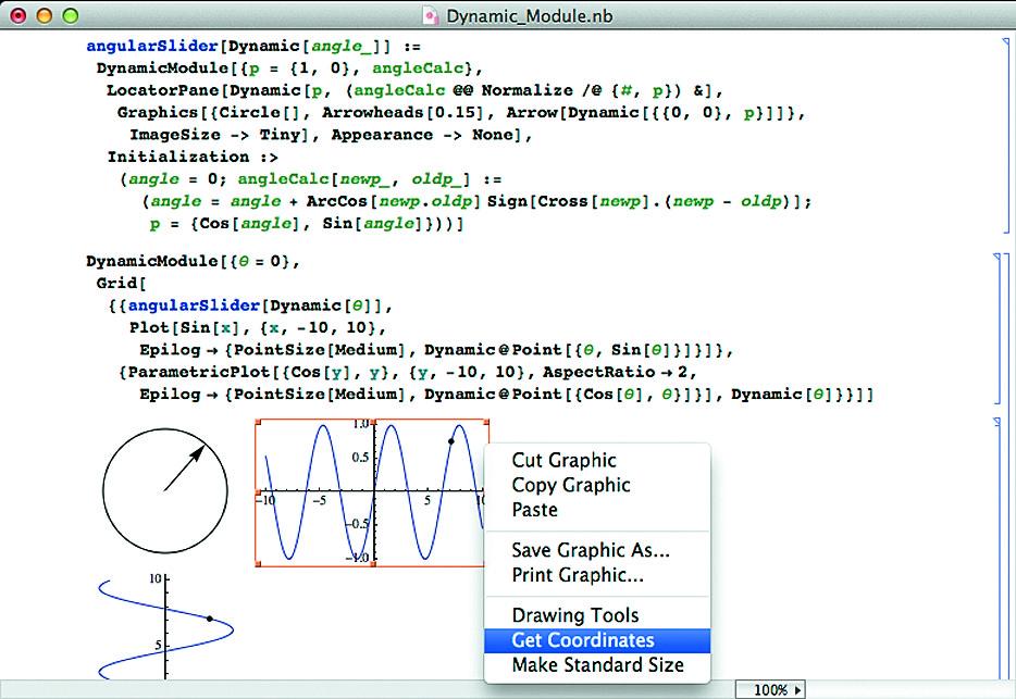 Построение радиус-вектора синусоиды, его вращение мышью и нахождение места конца на проекциях синусоиды