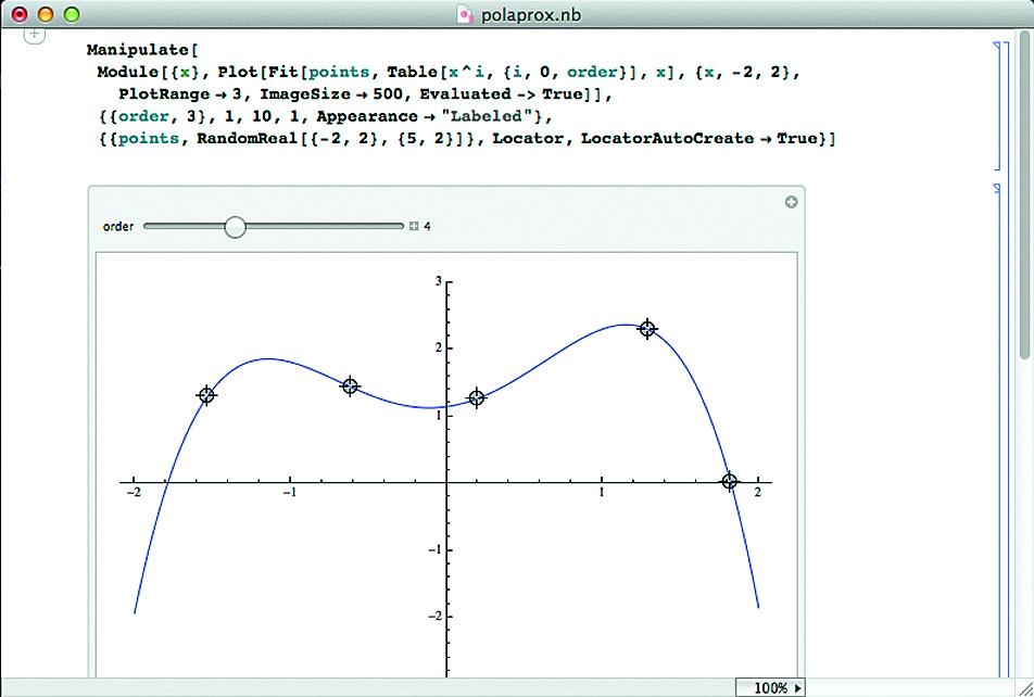 Полиномиальная аппроксимация перемещаемых мышью точек с установкой слайдером порядка полинома