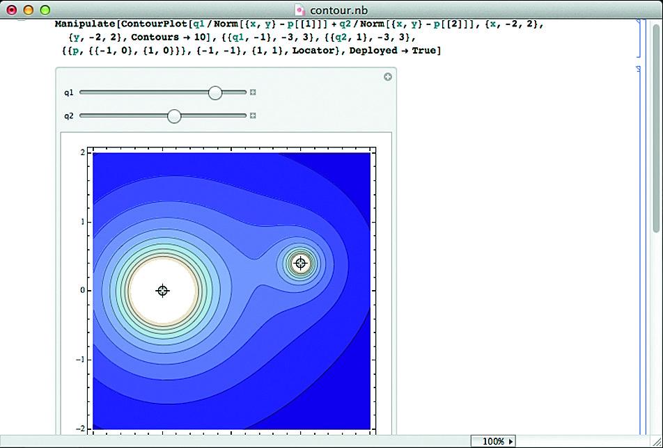 Контурный график поля двух перемещающихся мышью точек