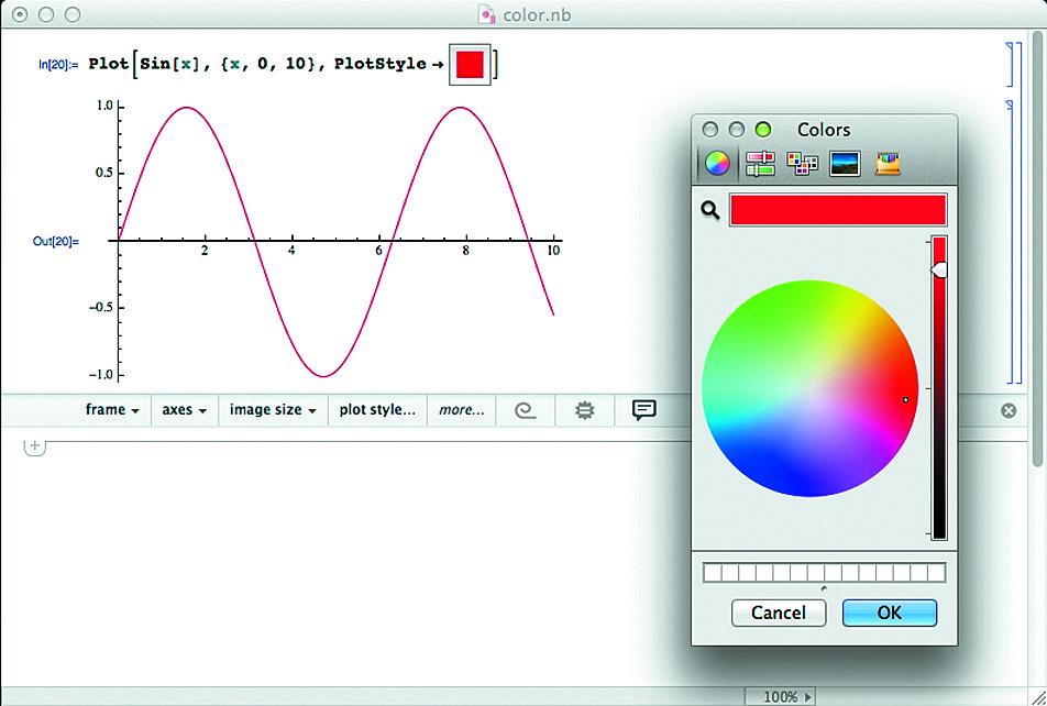 Выбор цвета кривой графика