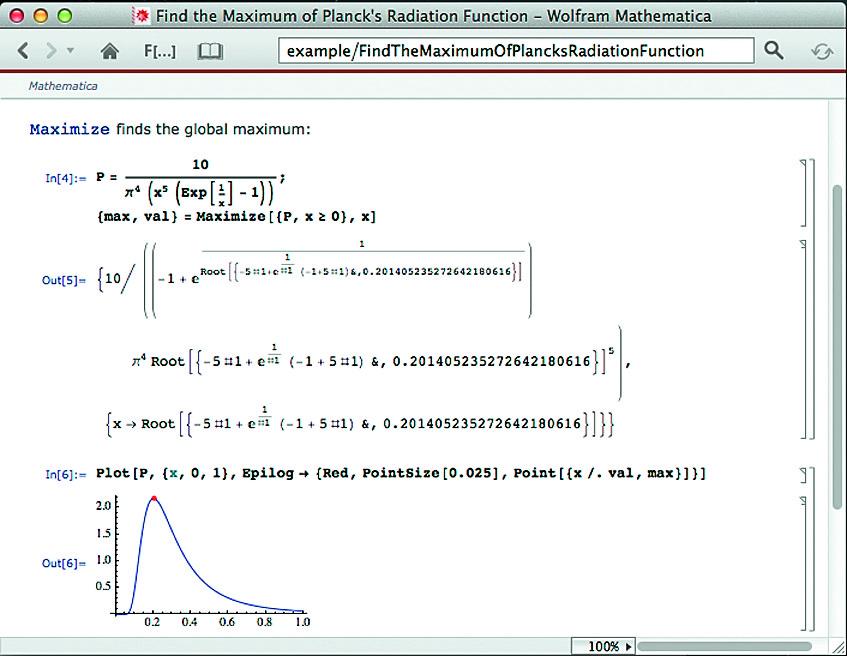 Вычисление максимума функции с построением точки максимума