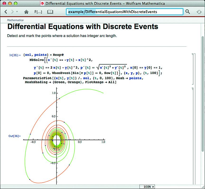 Решение системы дифференциальных уравнений с событиями
