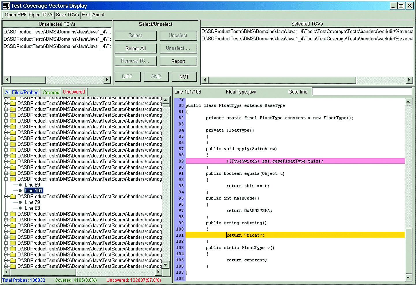 Просмотр отчета данных тестового покрытия в системе DMS