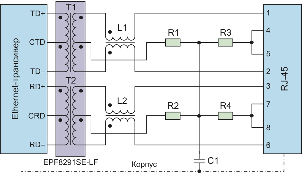 Типовая схема применения модуля EPF8291SE-LF