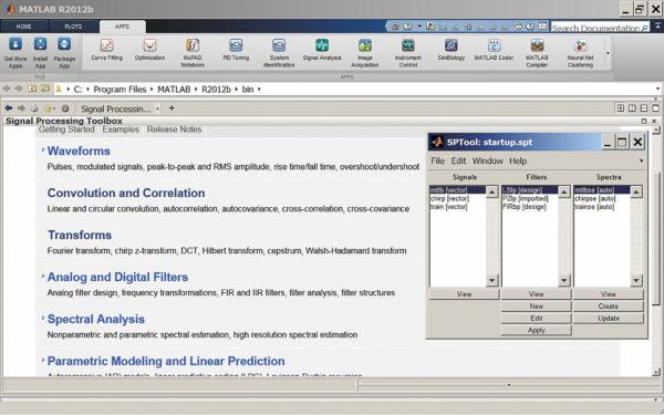 Окно справки по пакету расширения Signal Processing Toolbox