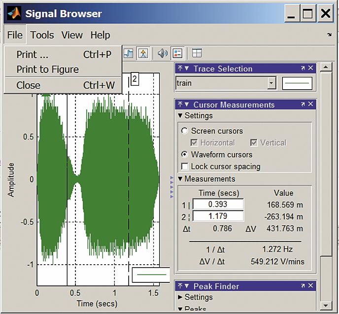 Просмотр параметров сигнала train