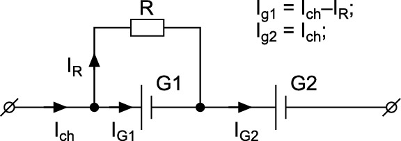 Шунтирование аккумулятора резистором R призаряде