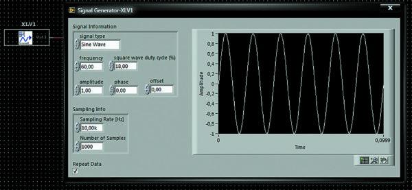 Пиктограмма на схеме и лицевая панель генератора сигналов