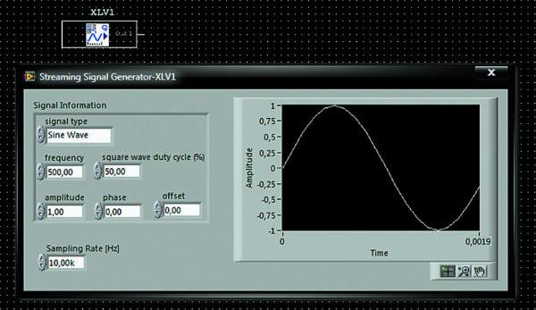 Пиктограмма на схеме и лицевая панель потокового генератора сигналов