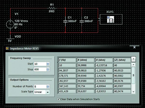 Пример подключения измерителя комплексных сопротивлений к схеме и его лицевая панель