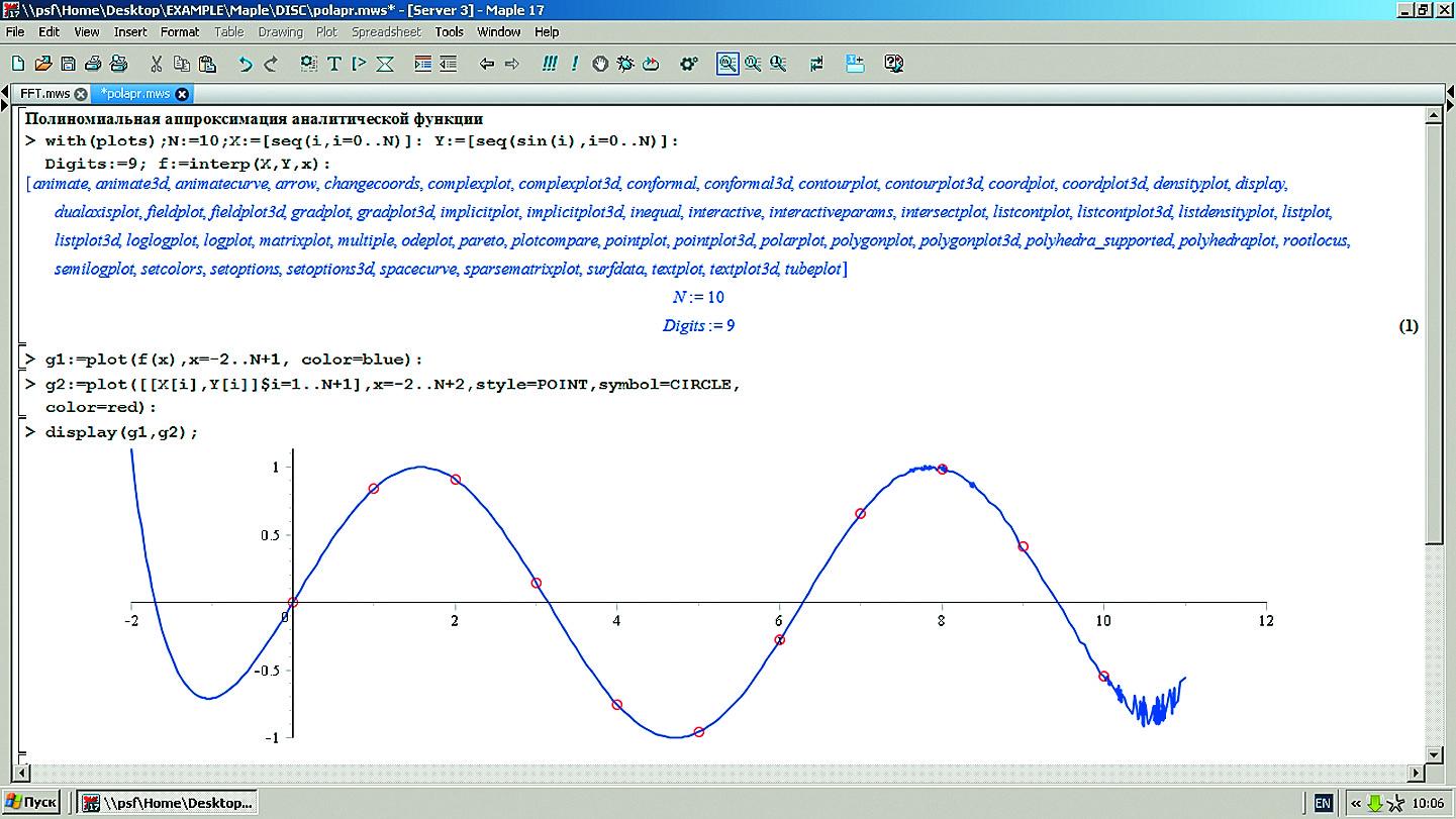 Полиномиальная аппроксимация аналитической функции