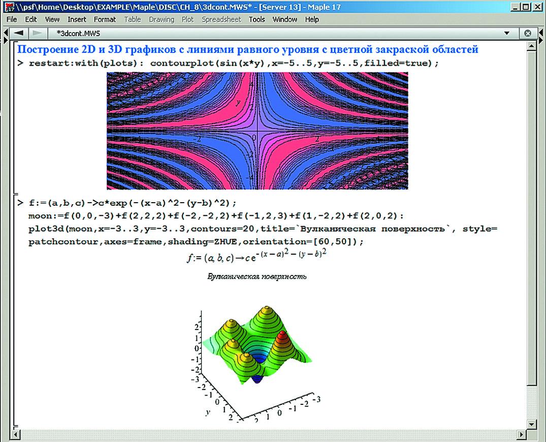2D- и 3D-графика с линиями равного уровня