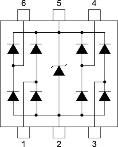 Схема двухканальной TVS диодной сборки для защиты контроллера физического уровня PoE от переходных процессов