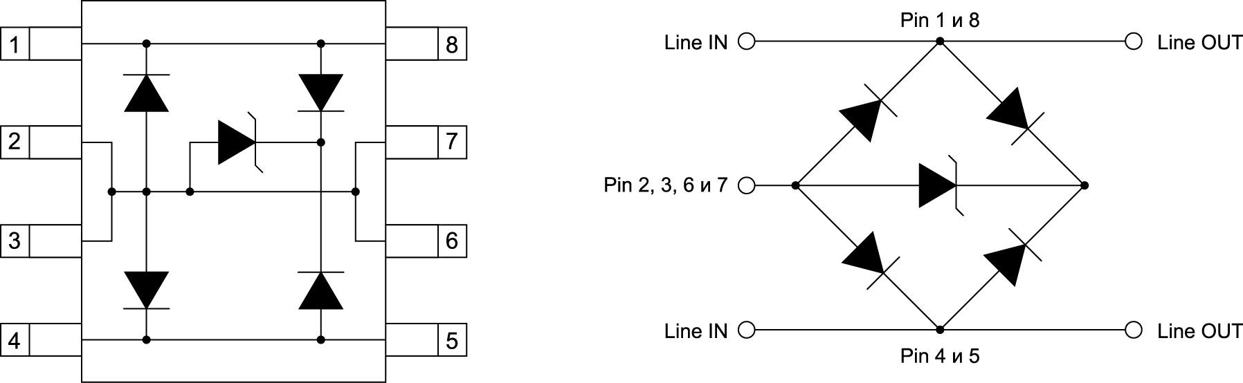 Схема корпуса и внутренняя конфигурация 2 канальной TVS диодной сборки повышенной мощности