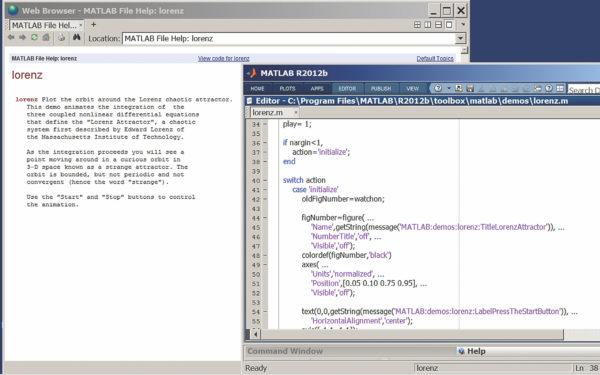 Окно справки по аттрактору Лоренца и листинг программы его моделирования в окне редактора программ MATLAB