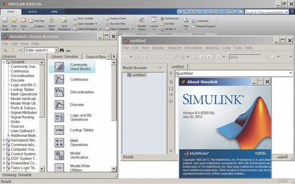 Окна библиотеки блоков пакета Simulink 8.0 и редактора диаграмм