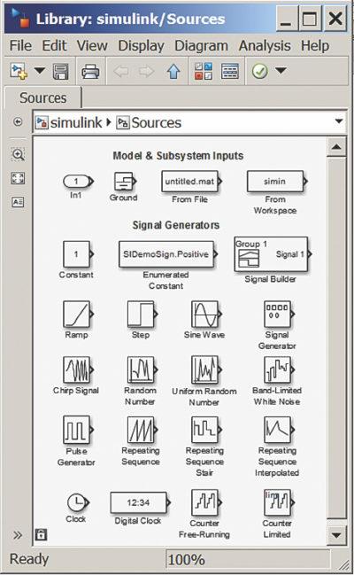 Блоки источников сигналов Sources