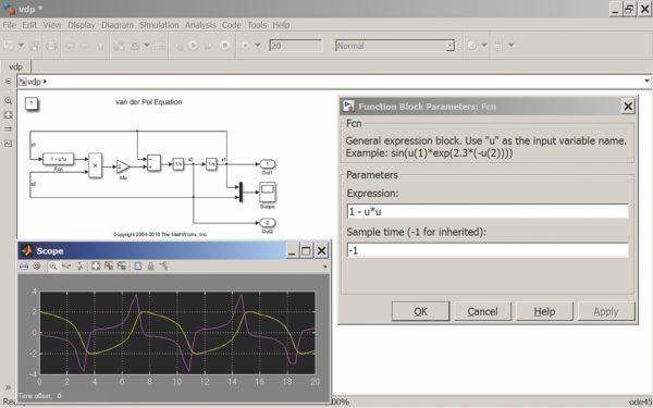 Диаграмма системы Ван дер Поля в Simulink 8.0