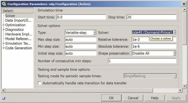 Установка параметров имитационного моделирования