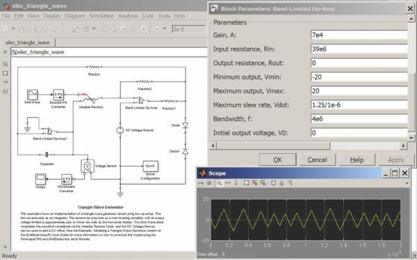Моделирование генератора треугольных импульсов на двух интегральных операционных усилителях