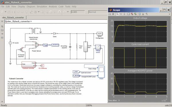 Моделирование обратноходового однотактного инвертора на мощном полевом транзисторе