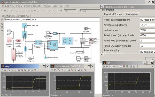 Моделирование системы термисторного контроля двигателя постоянного тока
