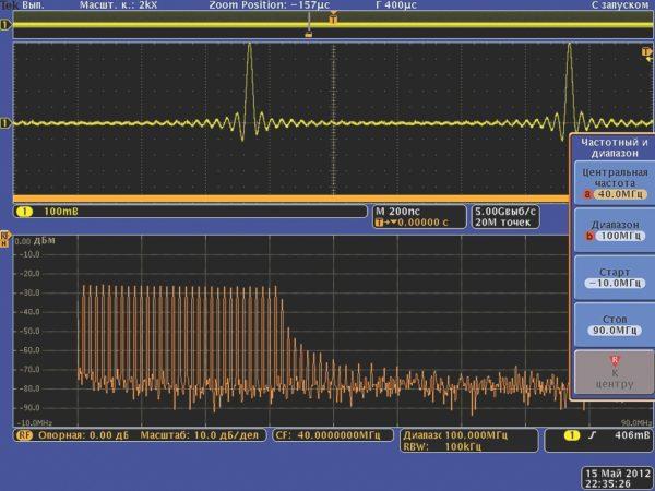 Реальная осциллограмма и спектр сигнала sin(x)/x от генератора AFG3101, полученные от многодоменного осциллографа Tektronix MDO4000 со встроенным анализатором спектра радиочастот
