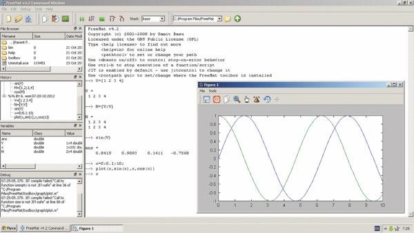 Интерфейс системы FreeMat 4.2 для компьютеров класса PC с операционной системой Windows