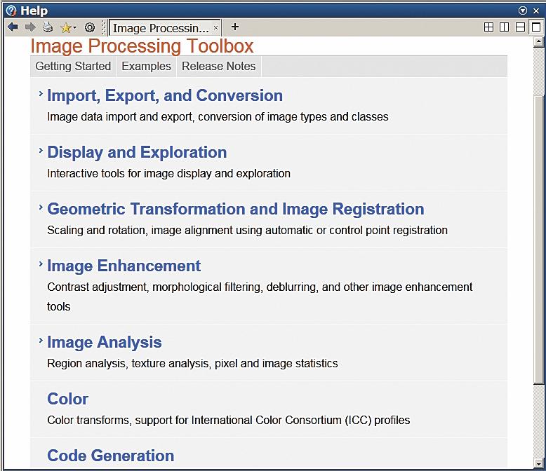 Окно справки по пакету расширения Image Processing Toolbox