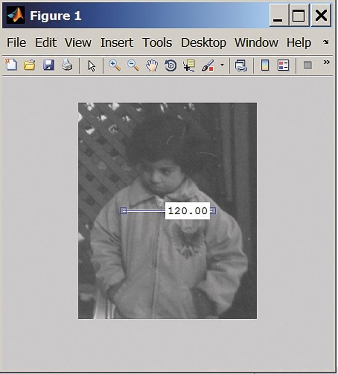 Изображение файла pout.tif с контролем расстояния между двумя точками