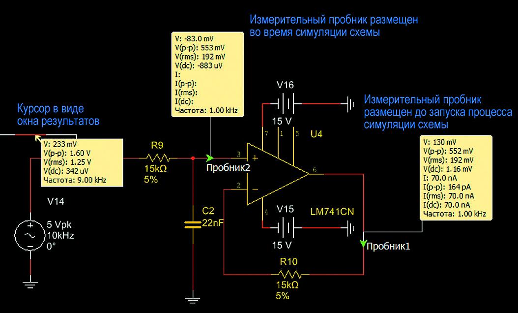Пиктограмма измерительного пробника на схеме, а также его подключение к проводнику