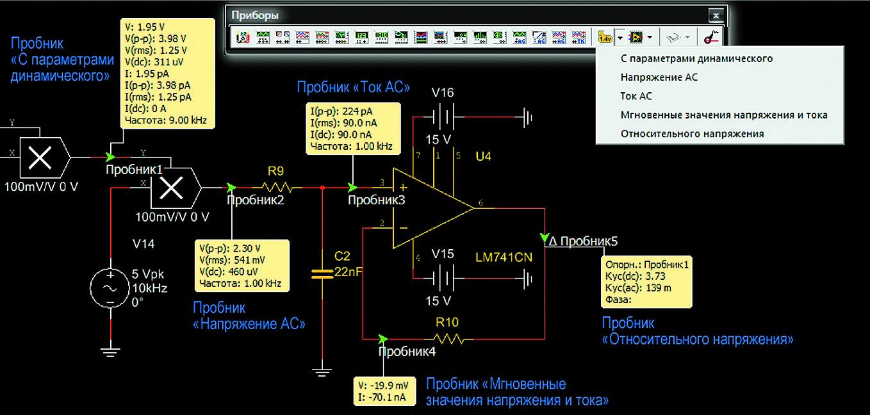 Внешний вид окна результатов и измеряемые параметры измерительных пробников