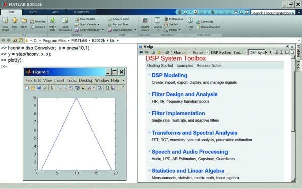 Интерфейс MATLAB 8.0 с окном справки в правой части командного окна