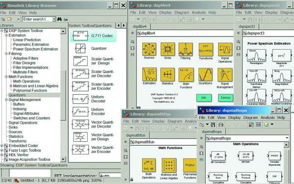 Окно библиотеки Simulink и первая группа окон библиотеки пакета DSP Toolbox