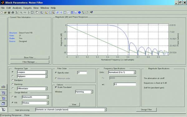 Окно блока параметров фильтра