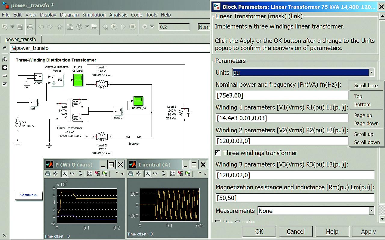 Диаграмма модели мощного (75 кВт) линейного 3 обмоточного трансформатора
