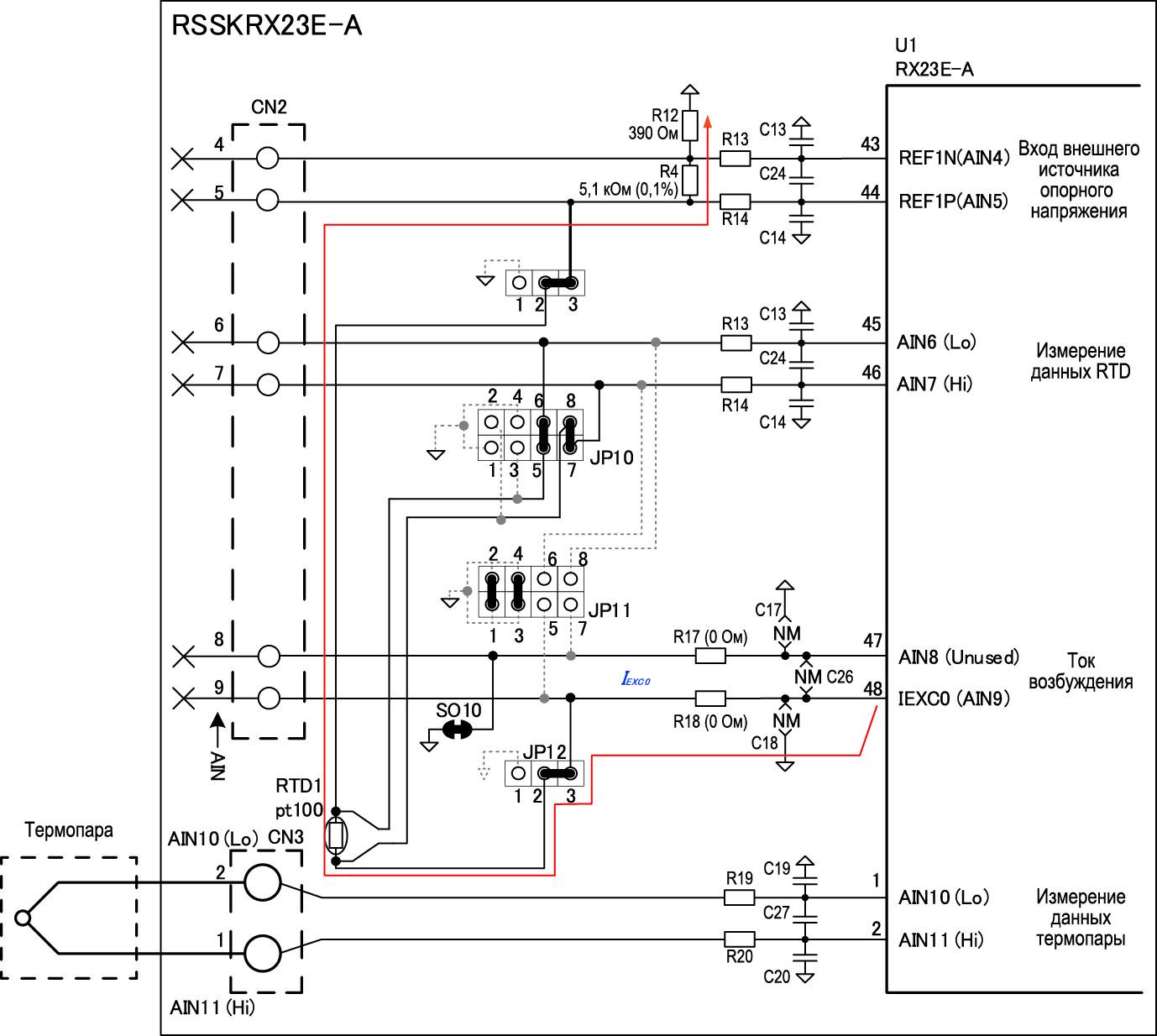 Схема подключения термопары к отладочной плате