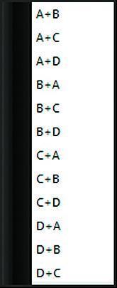 Список выбора каналов для суммирования сигналов
