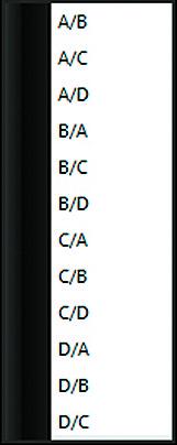 Список выбора соотношения каналов