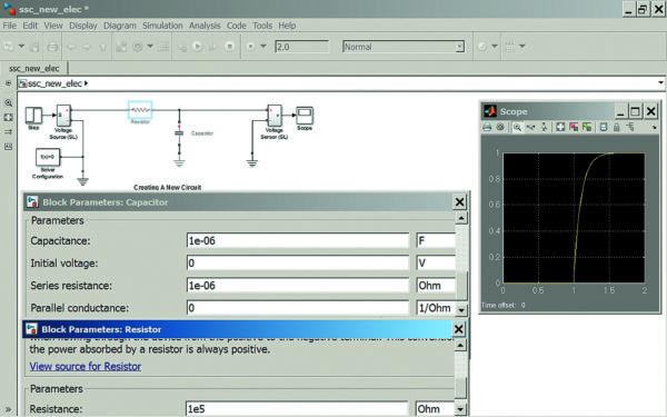 Диаграмма моделирования RC-цепи, питаемой от перепада напряжения