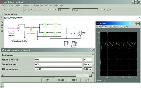 Диаграмма моделирования мостового двухфазного выпрямителя