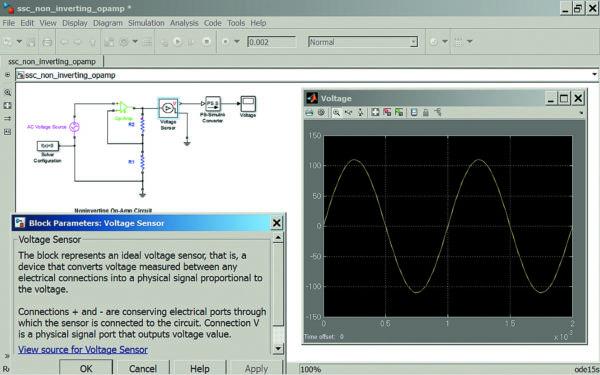 Диаграмма моделирования не инвертирующего усилителя на идеальном операционном усилителе