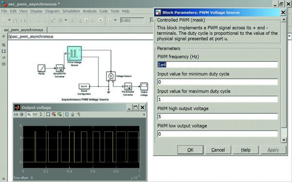 Диаграмма моделирования асинхронного источника напряжения с широтно-импульсной модуляцией