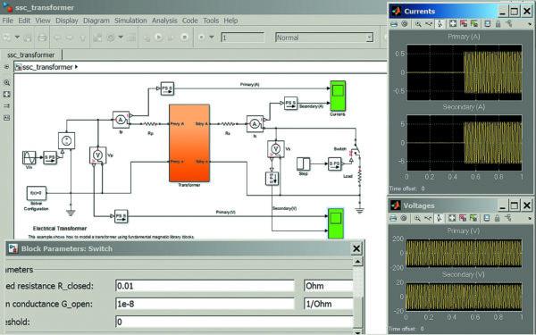 Диаграмма моделирования включения трансформатора