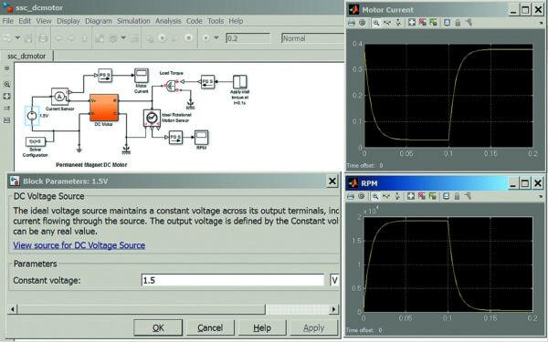 Диаграмма моделирования включения/выключения электродвигателя постоянного тока с постоянным магнитом